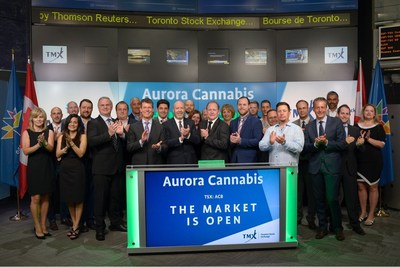 Terry Booth, CEO and Founder, Aurora Cannabis Inc. (ACB), joined Ungad Chadda, President, Capital Formation, Equity Capital Markets, TMX Group, to open the market. Aurora's wholly-owned subsidiary, Aurora Cannabis Enterprises Inc., is licensed by Health Canada under the Access to Cannabis for Medical Purposes Regulations (ACMPR). Aurora operates a 55,200 square foot, production facility in Mountain View County, Alberta, and is currently constructing an 800,000 square foot production facility at the Edmonton International Airport, and has acquired, and is undertaking completion of, a 40,000 square foot production facility in Pointe-Claire, Quebec. Aurora Cannabis Inc. graduated from TSX Venture Exchange, and commenced trading on Toronto Stock Exchange on July 24, 2017. (CNW Group/TMX Group Limited)