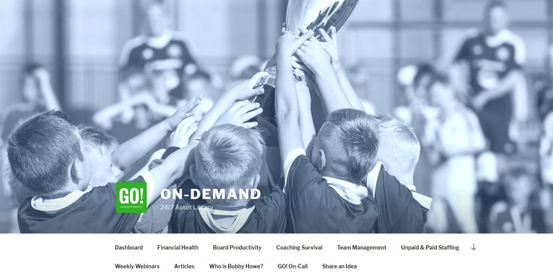 GO! On-Demand is a go-to resource offering instant 24/7 access to a full library of assets curated from over 20 years of successful tactical experience that simply and efficiently improves operations for youth sports organizations.