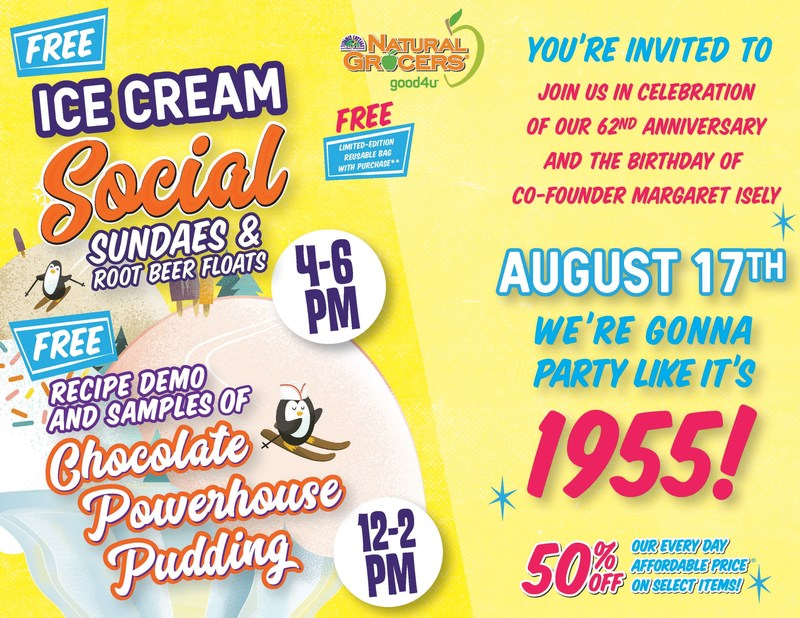 Natural Grocers to Host Ice-Cream Social Event to Celebrate 62nd Anniversary at 140 Stores on August 17