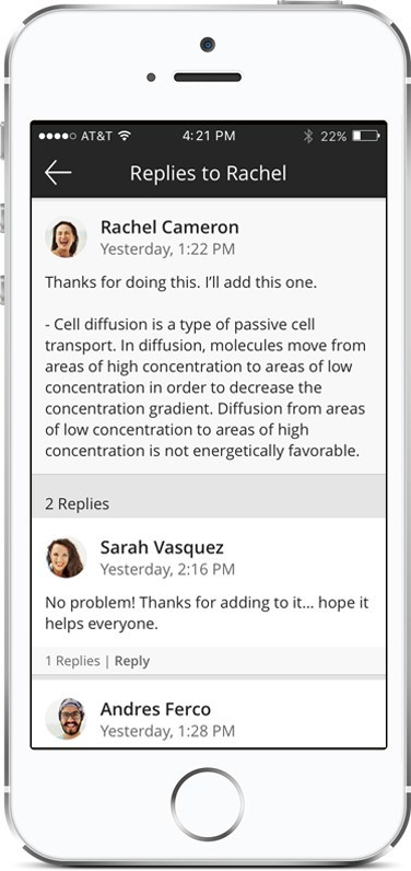 Blackboard Instructor makes it easy for educators to communicate with their students on-the-go with mobile access to discussion board threads.