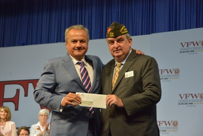 Henry Repeating Arms donates $50,000 to the VFW during the Joint Opening Session of the Veterans of Foreign Wars' 118th National Convention in New Orleans, LA. Pictured from left: Anthony Imperato, President of Henry Repeating Arms; and Brian Duffy, Commander-in-Chief of the VFW.