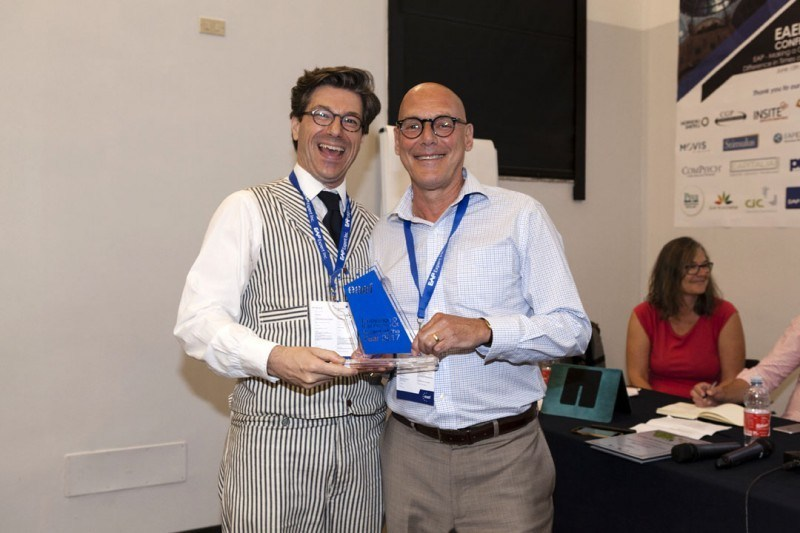 Morneau Shepell's Paul Wittes (seen on the right) accepts the Innovation of the Year Award from EAEF President Igor Moll (CNW Group/Morneau Shepell Inc.)
