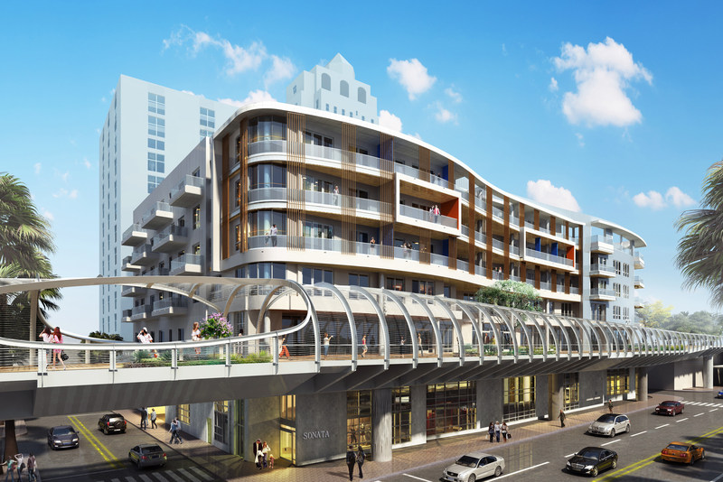 Sonata Modern Flats, a new 112-unit apartment community in Downtown Long Beach, is situated alongside Rainbow Bridge, a one-of-a-kind elevated pedestrian walkway designed as a linear park.