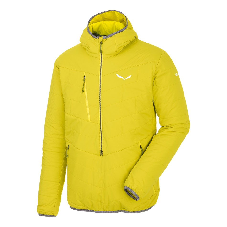 Salewa Puez TirolWool Celliant Half Zip Jacket: Bends TirolWool, naturally warm, breathable and hydrophobic insulation from Imbotex, with Celliant to keep outdoor enthusiasts energized and warm all day long. Release date: Fall 2017