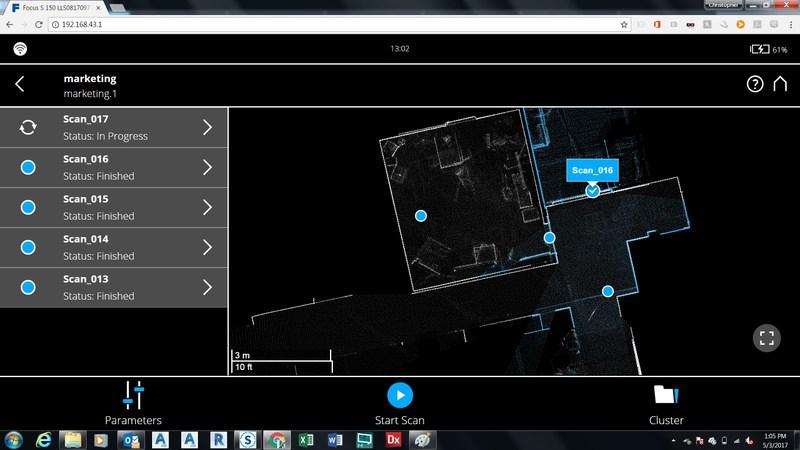 FARO SCENE 7.0 - Real time, on-site registration task in web browser
