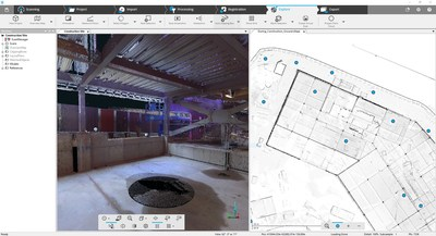 FARO SCENE 7.0 - Overview map with laser scan data of construction site