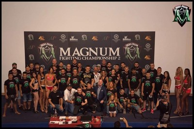 Fighters, coach, staff of Magnum FC 2 in Rome (PRNewsfoto/Magnum FC)