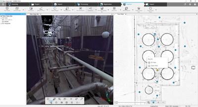 FARO SCENE 7.0 - Visão geral Mapa com dados de varredura a laser - planta petroquímica