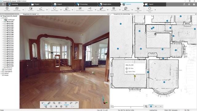 FARO SCENE 7.0 - Visão geral Mapa com dados de varredura a laser - construção