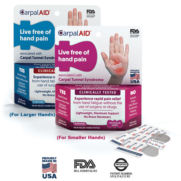 CarpalAID, a hand patch that relieves carpal tunnel symptoms, comes in two sizes