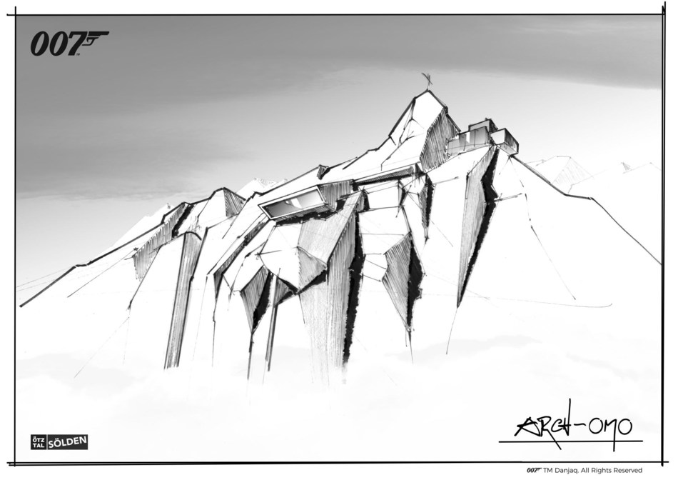 Architect Johann Obermoser's concept drawing of the building located 3,050 meters above sea level in Sölden, Austria to house the new James Bond cinematic installation. Embedded in the top of the mountain, the innovative, dynamic space is inspired by the work of visionary James Bond Production Designer Sir Ken Adam. Building work is underway and the installation will open to visitors this winter. (PRNewsfoto/Cable Car Companies Solden)