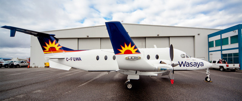 """Wasaya's new state-of-the-art Beechcraft airliner will serve Winnipeg, Sandy Lake, Pikangikum in comfort with """"Stand up"""" cabin and Executive Seating. (CNW Group/Wasaya)"""