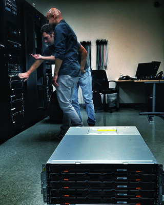 Engineers, Claude Sousma and William Morroco installing new NetApp E5600 series SAN arrays at My Eye Media headquarters in Burbank, California.