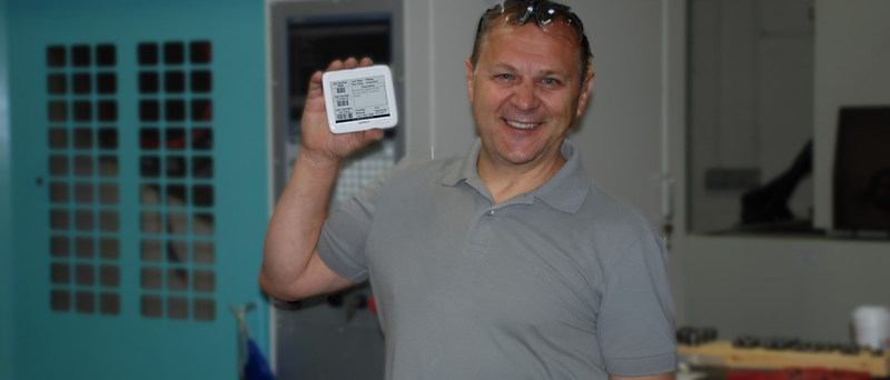 Greg Wolanin from American Tool in Newington, CT with an eTraveler tag.