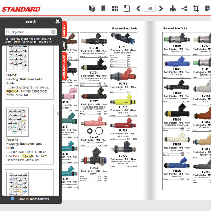 The Standard® Interactive Buyer's Guide is a powerful new tool for searching Standard® parts.