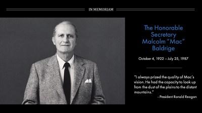 In memory of Secretary Malcolm Baldrige. (PRNewsfoto/Baldrige Foundation)