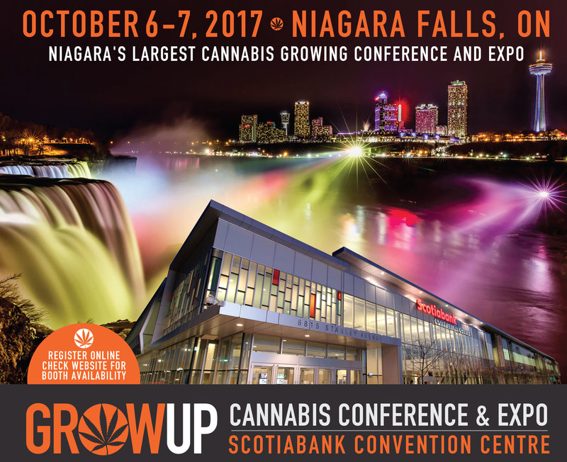Canada's premiere cannabis industry show is coming to the Scotiabank Convention Centre in Niagara Falls October 6-7, 2017. Grow Up Conference and Expo will bring together growing industry leaders and exhibits from licensed producers, suppliers, equipment manufacturers, investors, lawyers, government officials, legal retail owners and growing enthusiasts for 2 days of networking and intensive sessions from experts from both sides of the border. The 19+ event is open to the public. (CNW Group/Grow Up Conference and Expo)