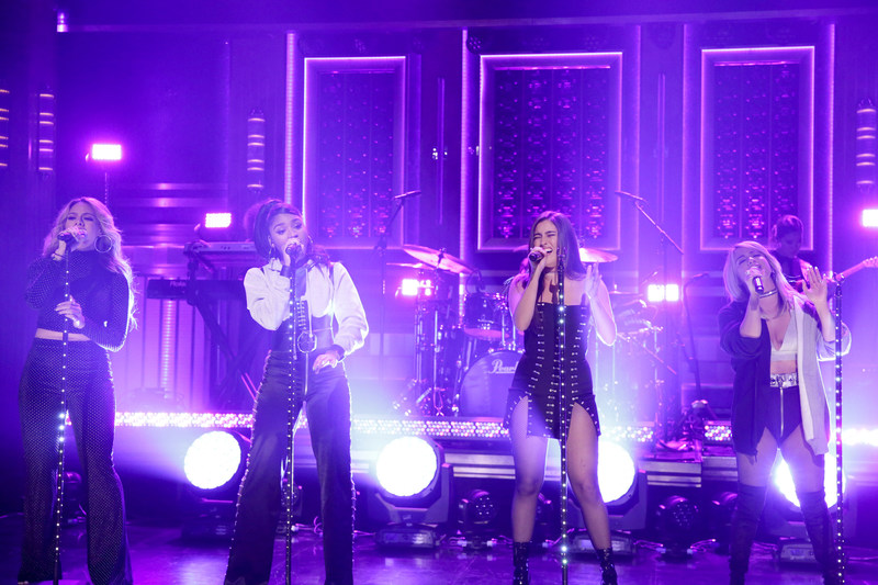 "THE TONIGHT SHOW STARRING JIMMY FALLON -- Episode 0710 -- Pictured: (l-r) Dinah Jane, Normani Kordei, Lauren Jauregui, Ally Brooke of Musical Guest ""Fifth Harmony"" perform ""Down"" on July 24, 2017 -- (Photo by: Andrew Lipovsky/NBC/NBCU Photo Bank)"