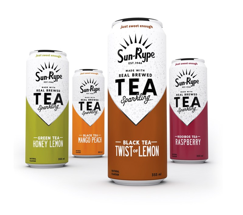 The new Sparkling Tea lineup from SunRype features four flavours in sleek 355ml cans (CNW Group/Sun-Rype Products Ltd.)