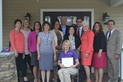From left to right: Watermark's Supervisor of Assisted Living, Kathleen Pye, Watermark's Regional Director of Resident Programming, Maureen Garvey, Carolyn DeRocco of the Connecticut Alzheimer's Association, Watermark's Director of Health Services, Denise Julian, Chief Operating Officer of the NCCDP, Lynn Biot Gordon, Managing Director of Operations at Watermark Retirement, Rich Howell, CNA of the Year, Lisa Ford, Chief Executive Officer of the NCCDP, Sandra Stimson, Managing Director of Watermark Retirement, Fred Zarrilli, Connecticut Lieutenant Governor Nancy Wyman, Watermark's Regional Sales Director, Dawn Marie Trombetta, and Chris Carter of the Connecticut Assisted Living Association.