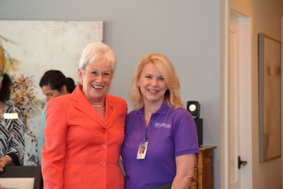 Connecticut Lieutenant Governor Nancy Wyman (left) congratulates 2017 CNA of the Year, Lisa Ford