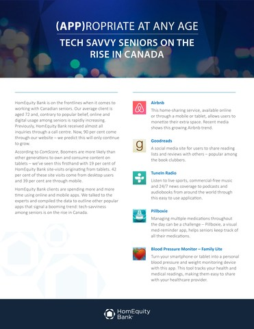 (APP)ropriate at Any Age: Tech Savvy Seniors on the Rise in Canada (CNW Group/HomEquity Bank)