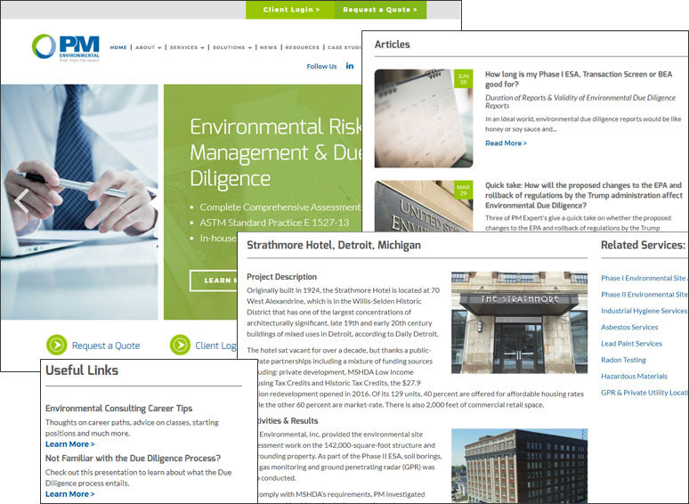 PM Environmental's new website
