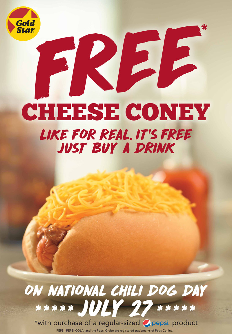 Celebrate National Chili Dog Day at Gold Star Chili. Enjoy a Free Cheese Coney with the purchase of any regular sized drink.