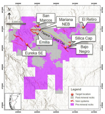 Figure 2: Plan Map of the Cerro Negro project and selected target locations. (CNW Group/Goldcorp Inc.)