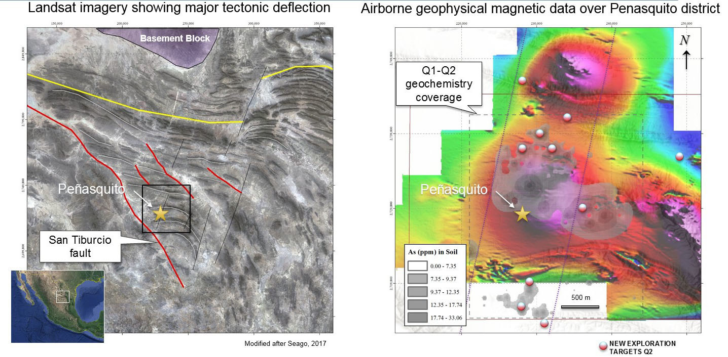 Figure 5: Map showing geophysical image over Peñasquito district with contoured arsenic geochemistry and location of selected targets. (CNW Group/Goldcorp Inc.)