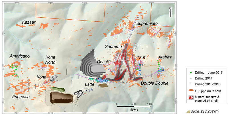 Figure 6: Coffee Deposit scale drilling location map and planned future mine infrastructure.  Drill collars highlighting drilling completed for Latte infill and Supremo, Arabica, and Supremiato in Q2. (CNW Group/Goldcorp Inc.)