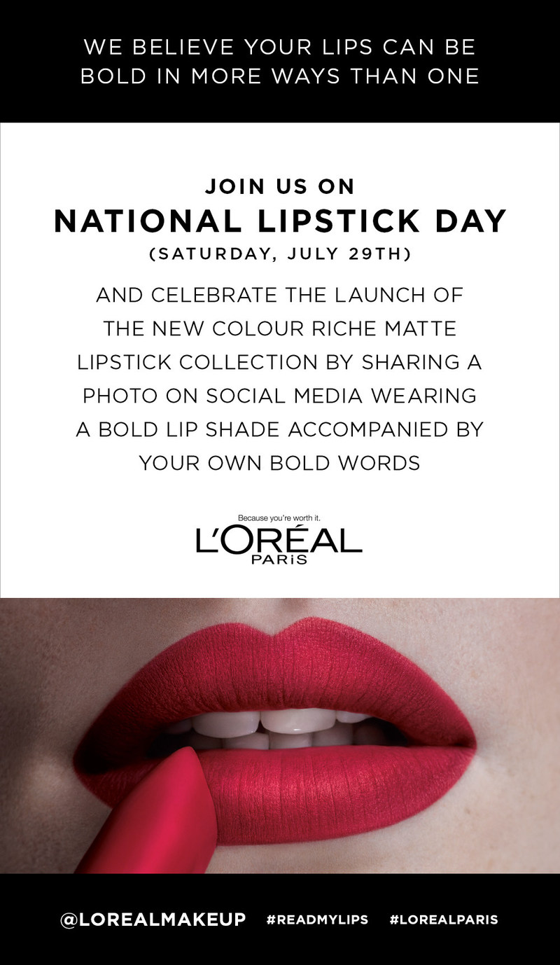 L'Oréal Paris Celebrates The Launch Of New Colour Riche Matte Lipstick On National Lipstick Day With #ReadMyLips