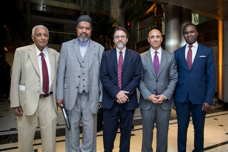 Ambassador Yousef Al Otaiba (2nd from right) hosts interfaith Iftar at the UAE embassy in DC with prominent Christian, Jewish, Muslim and other religious leadership, highlighting shared values. (Embassy of the United Arab Emirates-Washington, DC)