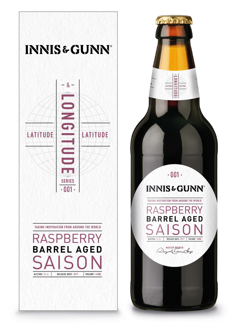 Matured in bourbon barrels with heaps of Scottish raspberries added, Innis & Gunn's Raspberry Saison is the first beer brewed from their Latitude and Longitude series.
