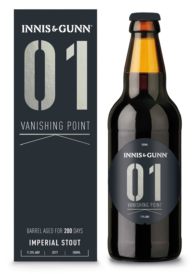 Innis & Gunn's Vanishing Point 01 is an Imperial Stout brewed in first fill bourbon barrels, bursting with flavors of fresh ground coffee, dark chocolate, coconut and vanilla.