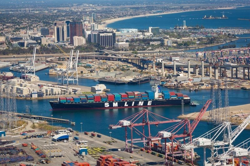 The Ports of Long Beach and Los Angeles are key hubs for Union Pacific's international intermodal business. Photo courtesy of the Port of Long Beach.