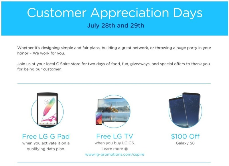 C Spire is hosting customer appreciation days on July 28 and 29 in all of its 74 retail stores offering food, special offers and free consumer electronics with qualifying purchases, including digital TVs and tablets.
