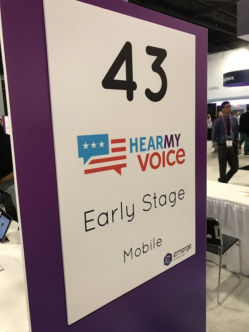 Civic engagement platform and mobile app 'Hear My Voice' attends The eMerge Americas Startup Showcase, a conference for over 100 innovative startups from around the world to connect with hundreds of strategic investors and potential partners.
