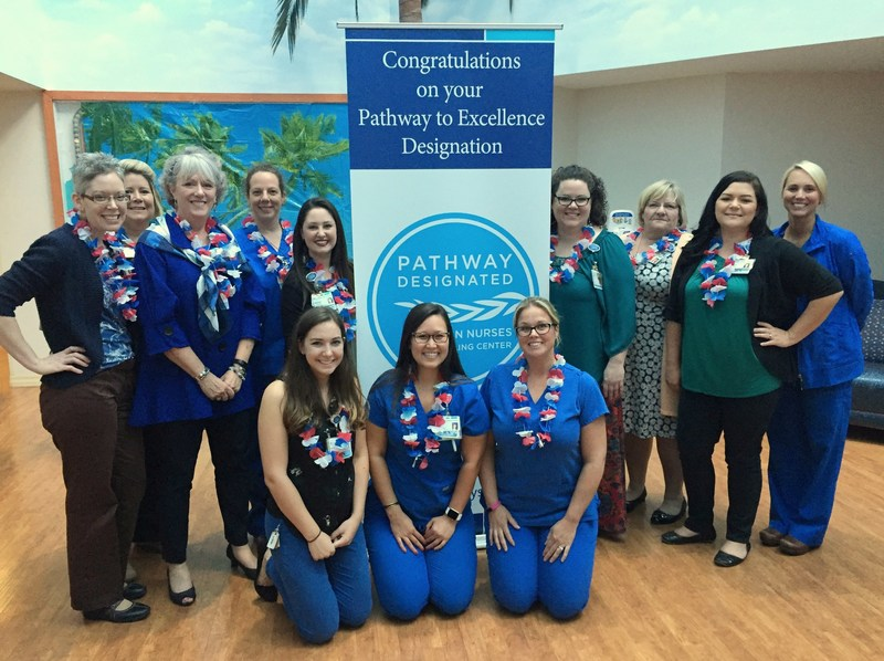 Frontline nurses and administrators from St. Joseph's Children's Hospital in Tampa celebrate the hospital's Pathway to Excellence® designation by the American Nurses Credentialing Center Tuesday, July 25, 2017. St. Joseph's Children's Hospital is the first acute pediatric hospital in Florida to achieve this recognition and the second in the United States.