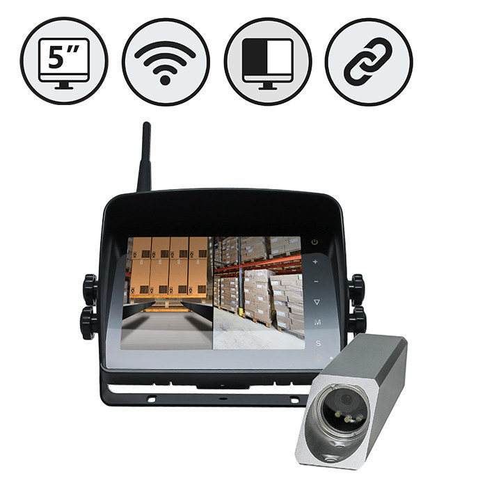"RVS-577FW Wireless Safety Camera System Forklifts with 5"" Dual Screen Display"