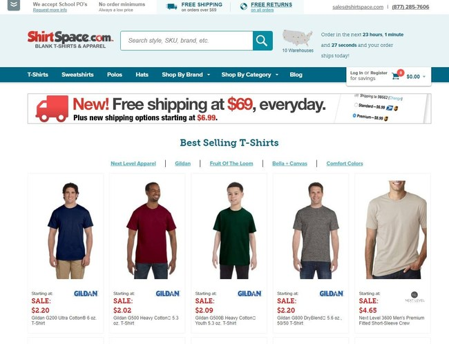 Online apparel retailer ShirtSpace has just announced a new two-tiered shipping program for its wholesale goods. Standard Shipping is available for $6.99 on all qualifying orders that weigh less than 10 pounds. Premium Shipping is available for $8.99. All orders over $69 are now shipped for free. The previous minimum spend was $99 to qualify for free shipping. To learn more about ShirtSpace, please visit www.shirtspace.com or call 1-877-285-7606.