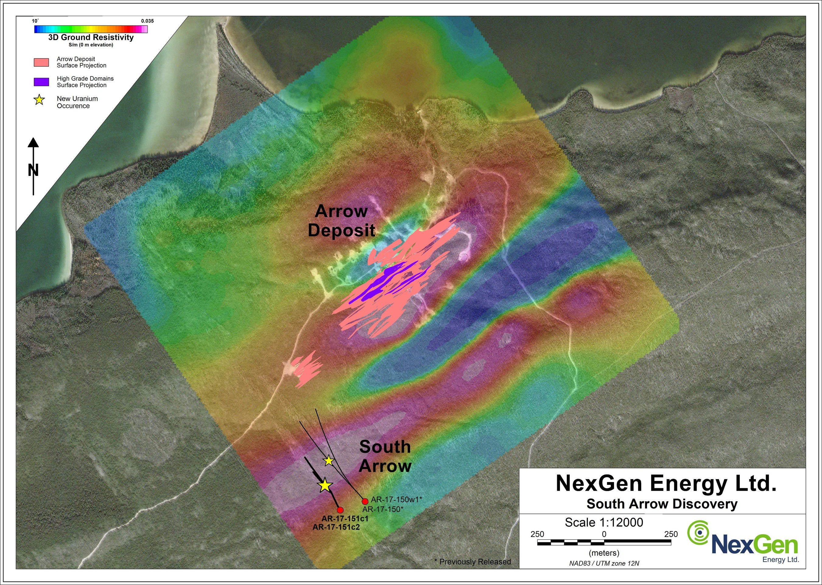 Figure 1: South Arrow Drill Hole Locations (CNW Group/NexGen Energy Ltd.)