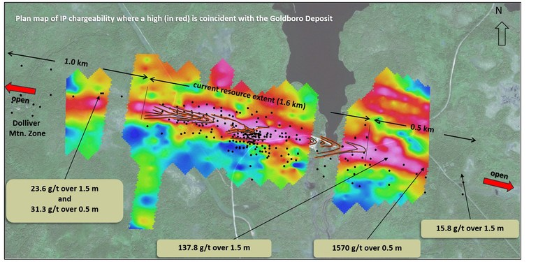Exhibit D.  A map showing the presence of a geophysical (IP Chargeability) anomaly centered over the current resource model and its extension both east and west to the limits of the survey, indicating high prospectivity along strike. (CNW Group/Anaconda Mining Inc.)
