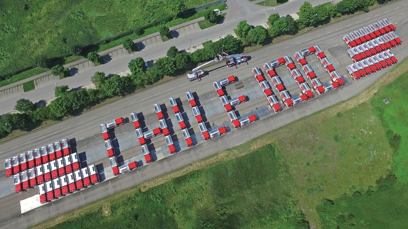 """A """"Chile 100"""" formation of the Magirus firefighting vehicles destined for use in Chile at the brand's headquarters in Ulm, Germany"""