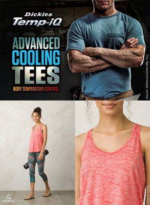 Caption (of picture): Dickies Temp-iQ Advanced Cooling Tee with HeiQ Smart Temp (top) and prAna's Reverve Tank with HeiQ Fresh Tech (bottom) (PRNewsfoto/HeiQ Materials AG)