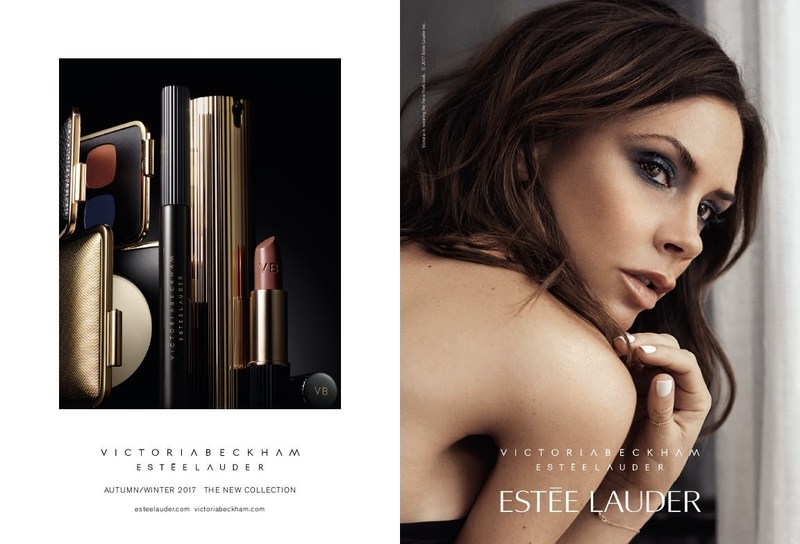 Victoria Beckham fronts the advertising campaign for the new Victoria Beckham Estée Lauder makeup collection debuting in September. Photo credit for Victoria's image: Lachlan Bailey. Photo credit for product image: Kanji Ishii.