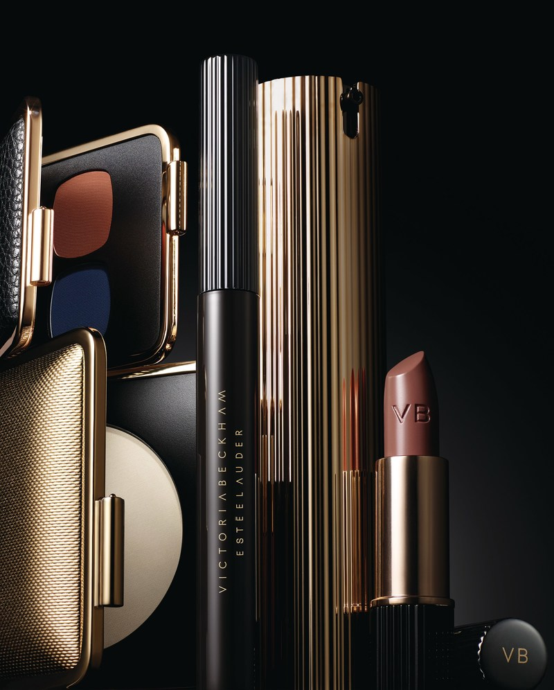 The new limited edition Victoria Beckham Estée Lauder makeup collection will be available beginning September 2017 at select retailers globally. Products in image from left: Skin Perfecting Powder, Eye Matte Duo in Saphir/Orange Vif, Eye Ink Mascara in Blackest, Morning Aura Illuminating Creme, Matte Lipstick in Victoria. Photo credit: Kanji Ishii.