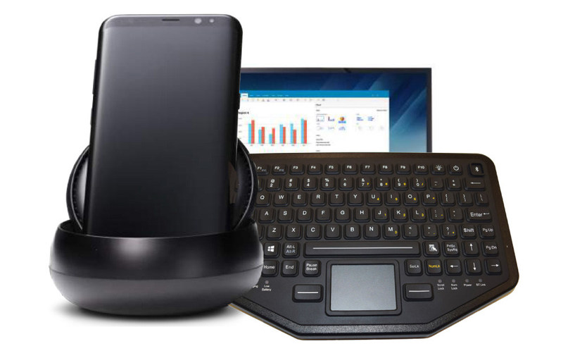 iKey BT-870-TP dual connectivity keyboard with Samsung DeX(TM) docking station and display. With a Galaxy S8 phone, this system rivals any desktop workstation experience,  inside a police car, a hotel room, and more. The docking station turns any monitor into a computer workstation.
