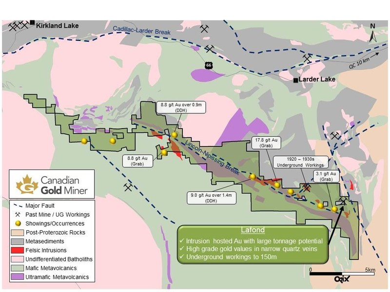 Figure 1. Location of the Lafond occurrence and the South Kirkland Project Area, Near Kirkland Lake Ontario (CNW Group/Transition Metals Corp.)