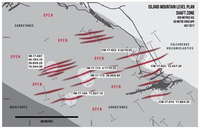 Island Mountain Level Plan Shaft Zone (CNW Group/Barkerville Gold Mines Ltd.)
